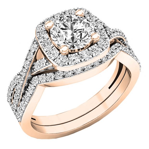 Buy 1 04 Inch 2 55 Carat Ctw 18k Rose Gold Round Cut Cubic Zirconia Ladies Halo Engagement Ring Set 2 1 2 Ct Online At Dazzlingrock Com