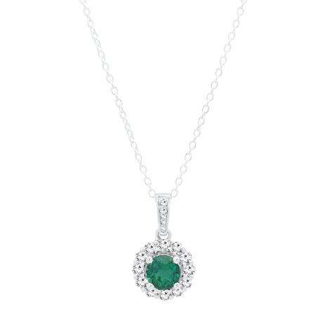 Dazzlingrock Collection 18K 5 MM Round Lab Created Gemstone Ladies Solitaire Pendant Yellow Gold
