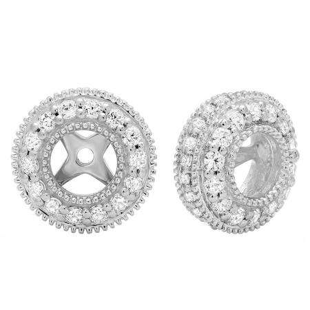 1.05 Carat (ctw) 10K White Gold Round Cut Cubic Zirconia Removable Jackets For Stud Earrings 1 CT