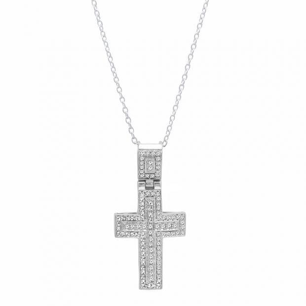 863a353933 0.40 Carat (ctw) 18K White Gold Round White Diamond Men's Cross Pendant  (Silver Chain Included)
