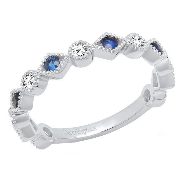 Dazzlingrock Collection 14K Gold Blue Sapphire /& White Diamond Ladies Vintage Wedding Eternity Stackable Ring