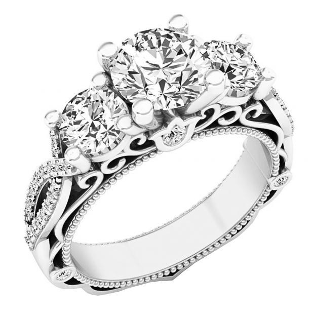 613751da47685 2 Carat (ctw) 14K White Gold Round Diamond Ladies Bridal Vintage 3 Stone  Engagement Ring 2 CT - Dazzling Rock