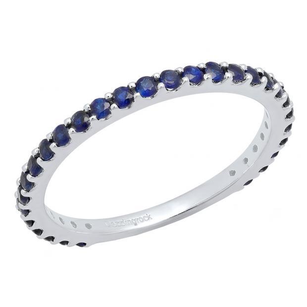 10K White Gold Round Blue Sapphire Ladies Anniversary Wedding Stackable Band