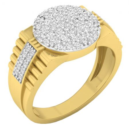 0.95 Carat (ctw) 10K Yellow Gold Round Diamond Mens Frame Stepped Shank Wedding Band 1 CT