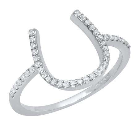 Other Fine Rings 10ct White Gold Cz Horseshoe Ladies Ring