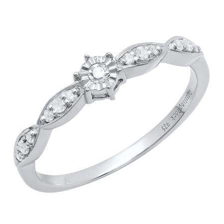 0.20 Carat (ctw) Sterling Silver Round White Diamond Bridal Engagement Ring