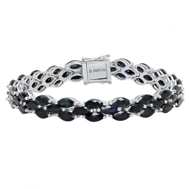 Sterling Silver 7X3.5 MM Marquise Black Sapphire Ladies Tennis Bracelet