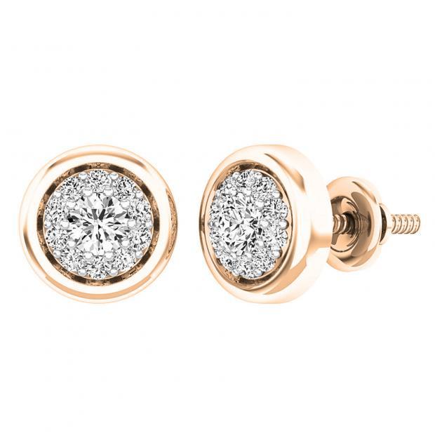 0.40 Carat (ctw) 10K Rose Gold Round White Diamond Ladies Cluster Stud Earrings