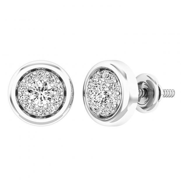 0.40 Carat (ctw) 10K White Gold Round White Diamond Ladies Cluster Stud Earrings