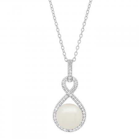 Sterling Silver 10 MM Round White Freshwater Pearl & Diamond Ladies Infinity Pendant