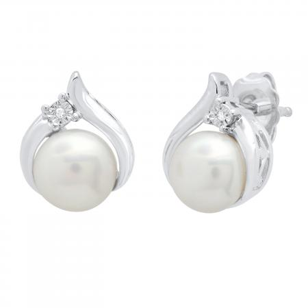 6 mm Round Freshwater Pearl Ladies Stud Earrings with Diamond Accents, 925 Sterling Silver