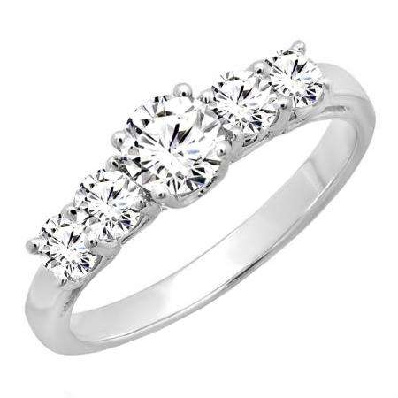 14k White Gold Over 1.00 Ct Diamond Anniversary Ring Wedding Band For Womens
