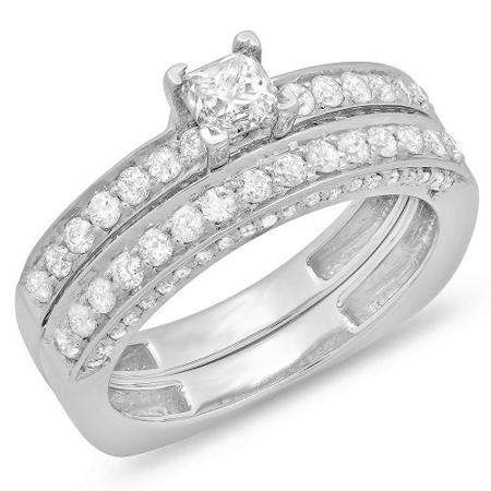 1.50 Carat (ctw) 14k White Gold Princess & Round Diamond Ladies Bridal Engagement Ring Set