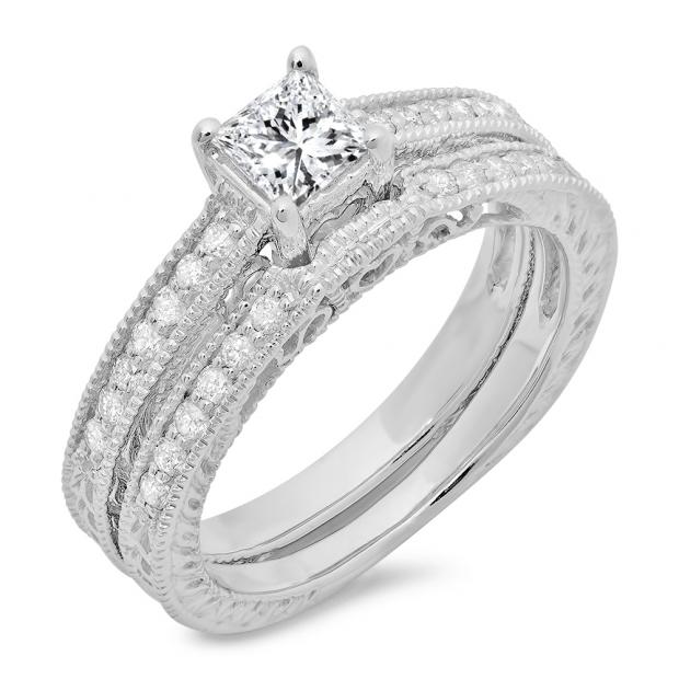 0.80 Carat (ctw) 14k White Gold Round & Princess Diamond Ladies Bridal Set Engagement with Matching Band Ring