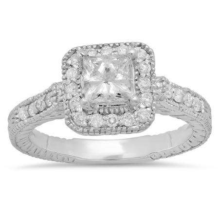 1.25 Carat (ctw) 14k White Gold Princess & Round Diamond Ladies Bridal Engagement Ring Set