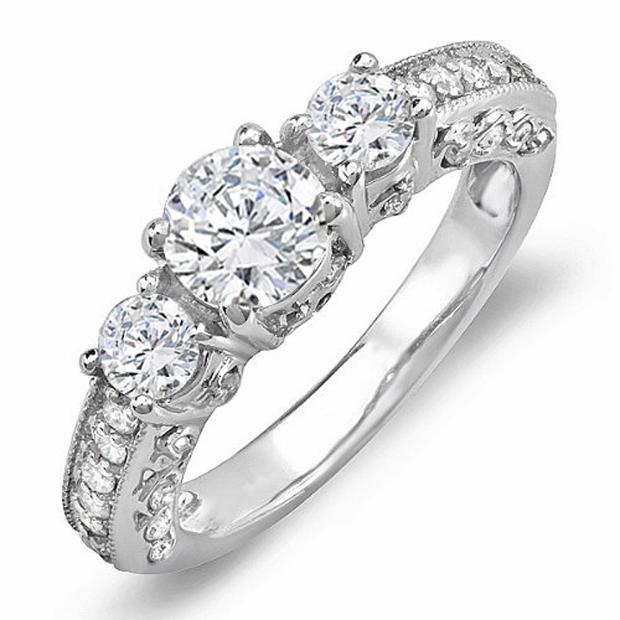 1.45 Carat (ctw) 14k White Gold Round Diamond Three Stone Engagement Bridal Ring; Center 0.70 CT