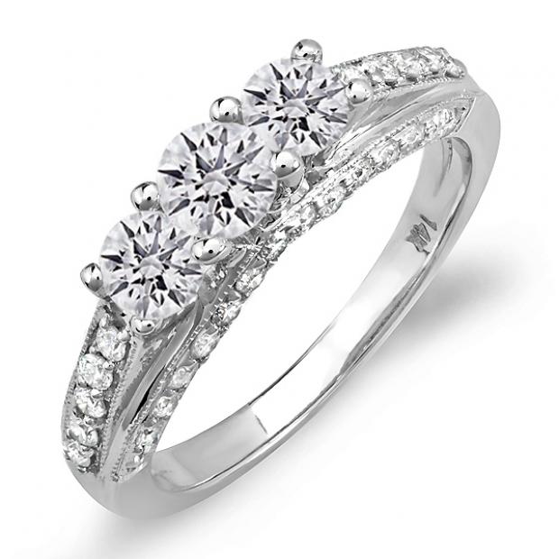 IGI CERTIFIED 1.25 Carat (ctw) 14k White Gold Round Diamond Ladies Bridal Engagement Ring