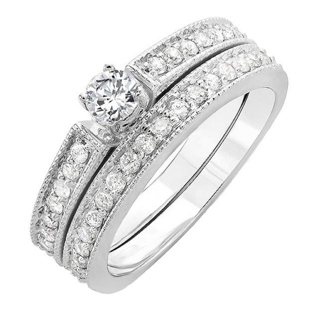 0.75 Carat (ctw) 14k White Gold Round Diamond Ladies Bridal Engagement Ring Set 3/4 CT