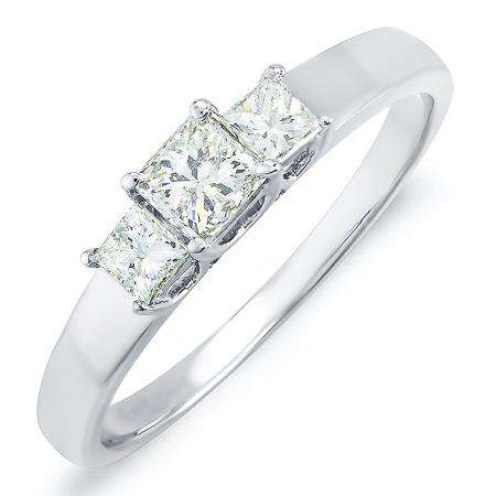 0.60 Carat (ctw) 14k White Gold Princess Diamond Ladies Bridal 3 Stone Engagement Ring