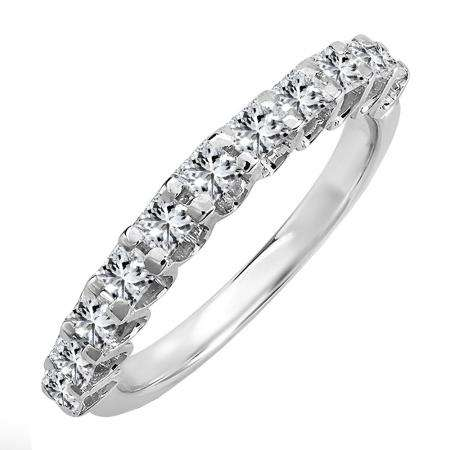 1.00 Carat (ctw) 14k White Gold Princess Diamond Ladies Anniversary Wedding Band Stackable Ring