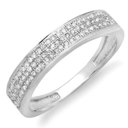 0.25 Carat (ctw) 10k White Gold Brilliant Round Diamond Ladies Anniversary Wedding Band 1/4 CT