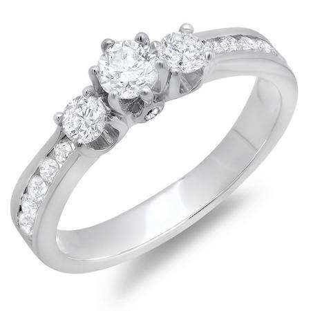 1.00 Carat (ctw) 14k White Gold Round Cut Diamond 3 stone Ladies Engagement Bridal Ring