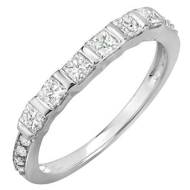 0.60 Carat (ctw) 14K White Gold Princess & Round Diamond Ladies Anniversary Wedding Band Stackable Ring