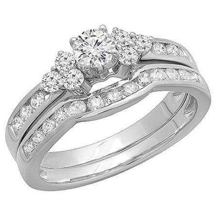 1.10 Carat (ctw) 14K White Gold Round White Diamond Engagement Bridal Ring Set 1 CT