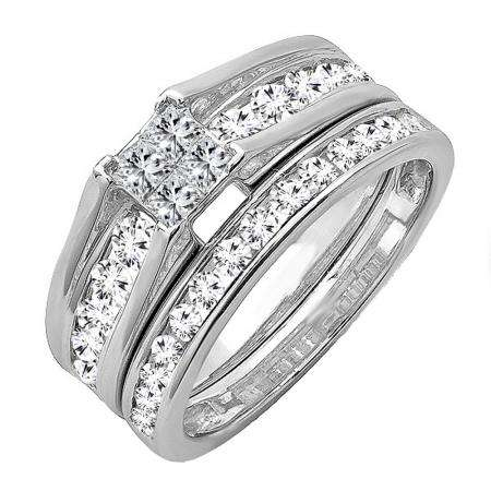 1.00 Carat (ctw) 14k White Gold Princess & Round Invisible Diamond Ladies Bridal Ring Set Engagement Set