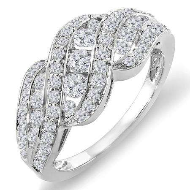 1.00 Carat (ctw) 14K White Gold Round Diamond Ladies Cocktail Right Hand Ring 1 CT
