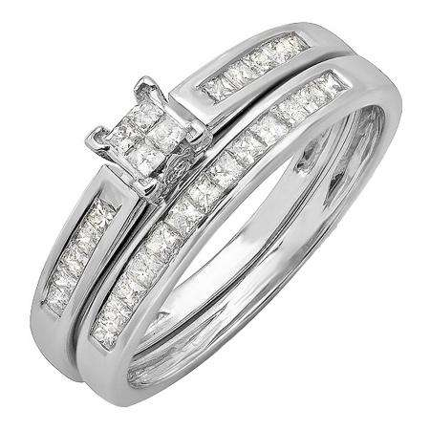 0.75 Carat (ctw) 14k White Gold Princess Invisible Diamond Ladies Bridal Ring Set Engagement Set 1/3 CT