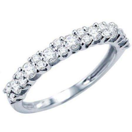 1.00 Carat (ctw) 14k White Gold Round Diamond Ladies Anniversary Wedding Ring Band Stackable