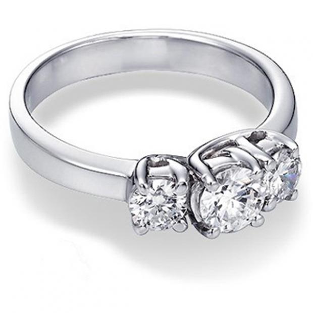 1.00 Carat (ctw) 14K WHITE GOLD ROUND DIAMOND 3 STONE RING