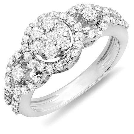 0.85 Carat (ctw) 14K White Gold Round Diamond Ladies Bridal Three Stone Flower Cluster Engagement Ring 1 CT