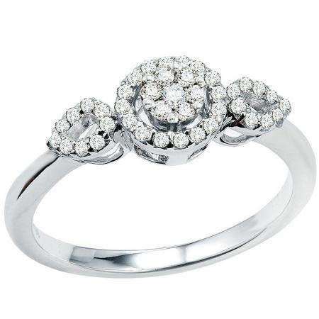 0.33 Carat (ctw) 10k White Gold Round Diamond Ladies Bridal Engagement Ring 1/3 CT