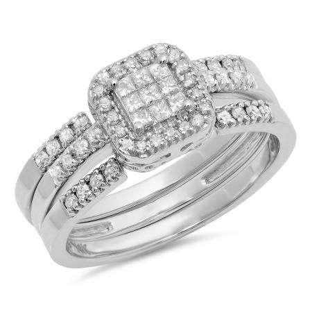 0.50 Carat (ctw) 14k White Gold Engagement Princess & Round Diamond Invisible Set Engagement Bridal Ring Set 1/2 CT