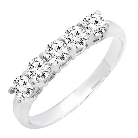 0.85 Carat (ctw) 14k White Gold Round Diamond 5 Stone Ladies Anniversary Wedding Band Ring