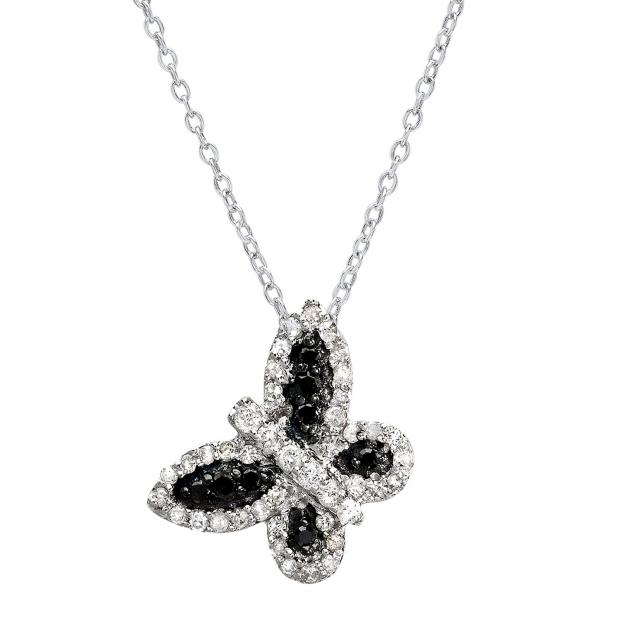 0.40 Carat (ctw) 10k White Gold Round Diamond Ladies Butterfly Pendant