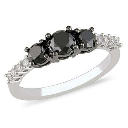 1.50 Carat (ctw) 14k White Gold Black & White Round Diamond Ladies Three Stone Engagement Ring