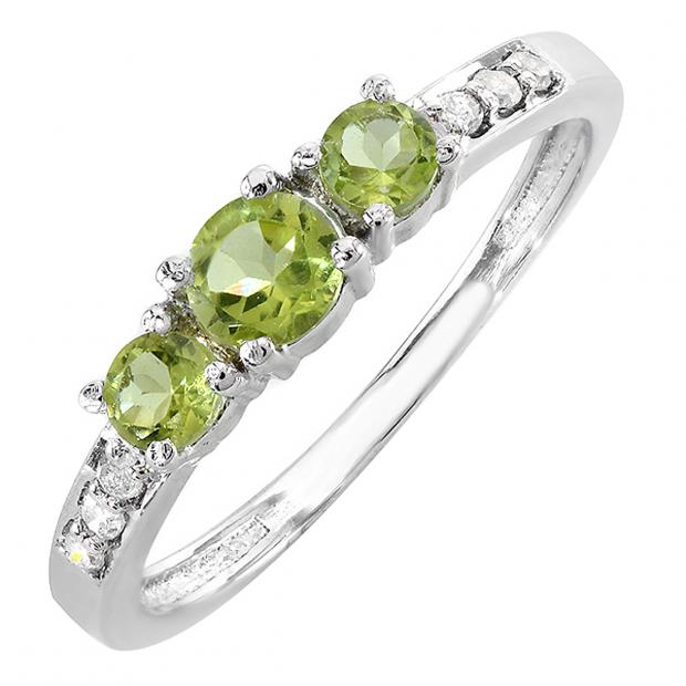 0.50 Carat (ctw) 10k White Gold Green Peridot & White Round Diamond Ladies Three Stone Engagement Bridal Ring 1/2 CT