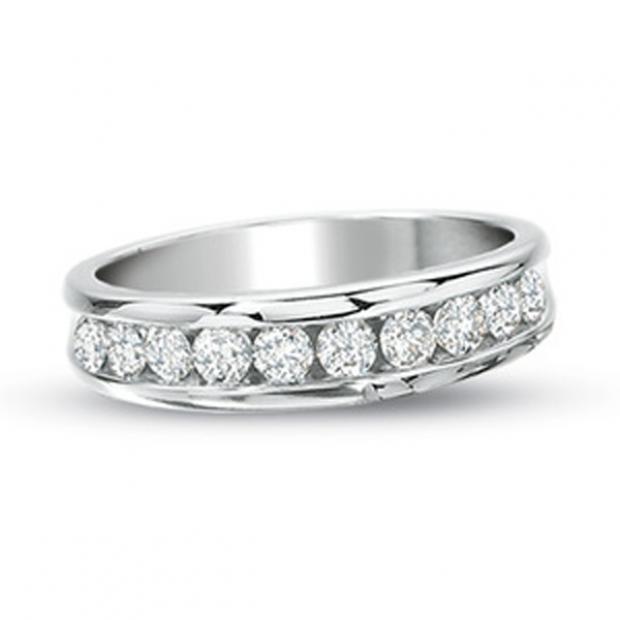 0.50 Carat (ctw) 14k White Gold Round Diamond Ladies Anniversary Wedding Ring Stackable Band 1/2 CT