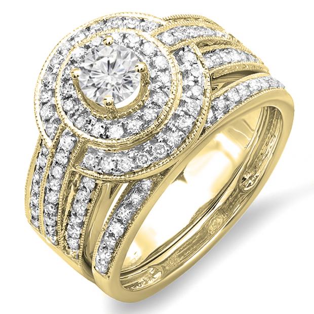 1.10 Carat (ctw) 14K Yellow Gold Real Round Diamond Engagement Bridal Ring Set with Matching Band