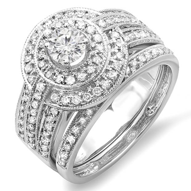 1.10 Carat (ctw) 14K White Gold Real Round Diamond Engagement Bridal Ring Set with Matching Band