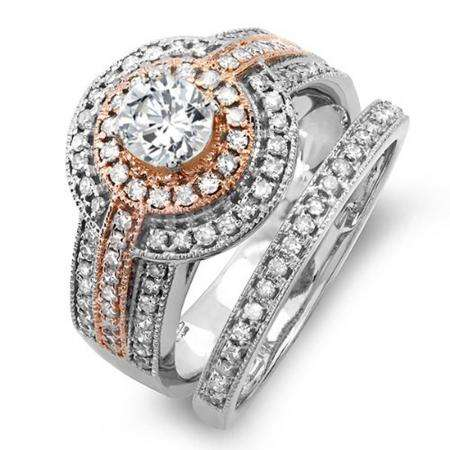 1.15 Carat (ctw) 14K Two Tone Rose Gold Real Round Diamond Engagement Bridal Ring Set with Matching Band