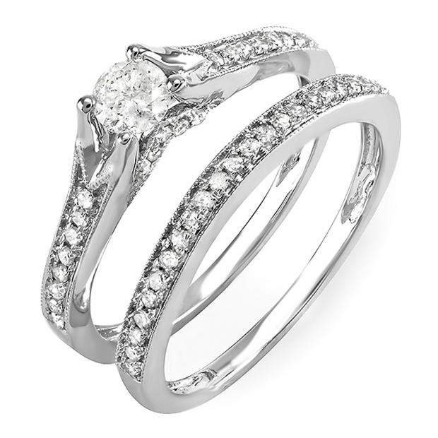0.90 Carat (ctw) 14k White Gold Round Diamond Ladies Bridal Split Shank Engagement Ring Matching Band Set