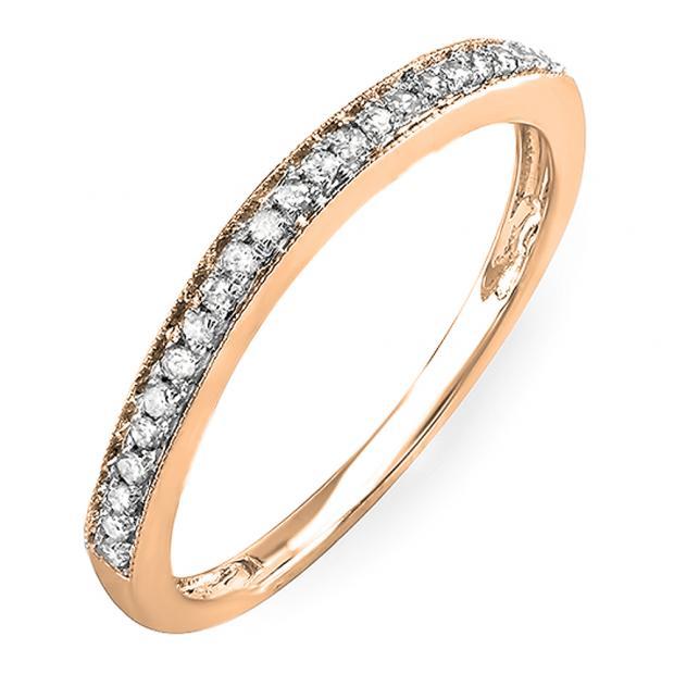 0.12 Carat (Ctw) 10k Rose Gold Round White Diamond Wedding Anniversary Stackable Band Ring