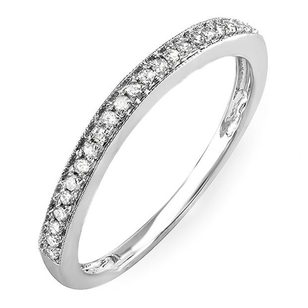 0.12 Carat (Ctw) 10k White Gold Round White Diamond Wedding Anniversary Stackable Band Ring
