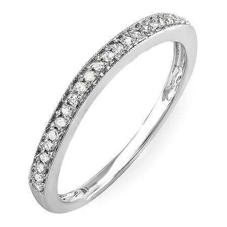 0.12 Carat (Ctw) 14k White Gold Round White Diamond Wedding Anniversary Stackable Band Ring