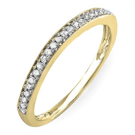 0.12 Carat (Ctw) 14k Yellow Gold Round White Diamond Wedding Anniversary Stackable Band Ring
