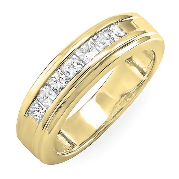 0.90 Carat (ctw) 18K Yellow Gold Princess Diamond Mens Wedding Anniversary Band Ring